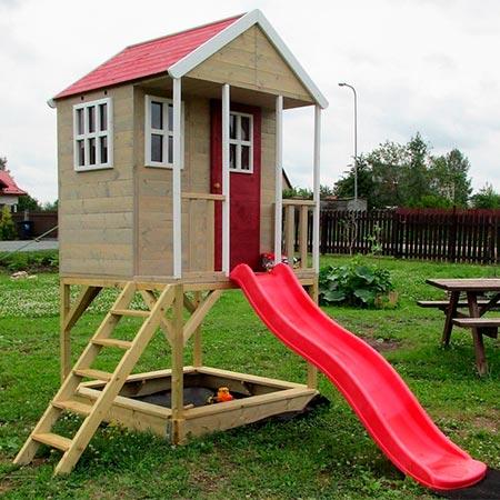 casita de madera con tobogan wendi toys